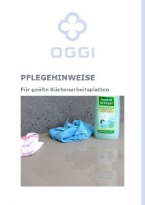 OGGI-Beton: Katalog-PDF Pflegehinweise für geölte Küchenarbeitsplatten