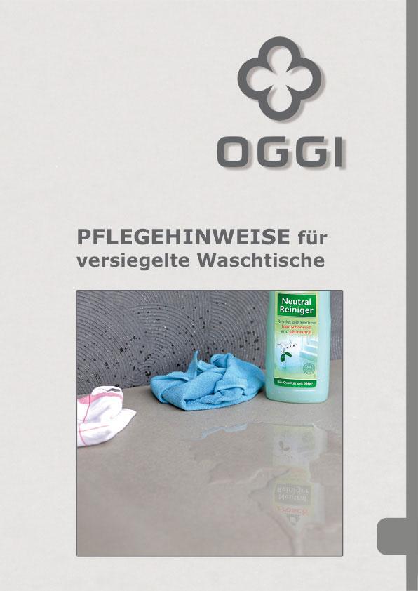 OGGI-Beton: Katalog-PDF Pflegehinweise für versiegelte Waschtische