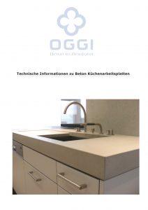 OGGI-Beton: Katalog-PDF Technische Informationen zu Beton Küchenarbeitsplatten