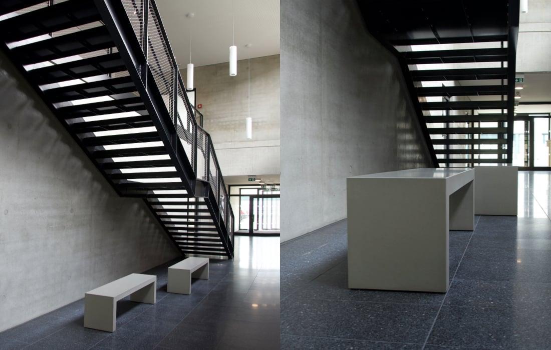 Brandschutz Betonmöbel von OGGI-Beton : Betonbank als Unterlaufschutz